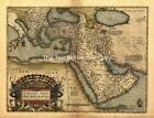 Ortelius Turkey Middle East Old Colour Turkish Map Plan