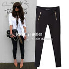 pj3 Celebrity Style Basic Jersey Black Skinny Stretch Riding Pants with Zipper