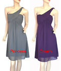 Size 8 10 12 14 16 18 20 Grey Purple Cocktail Dress One Shoulder New