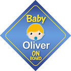 Baby Oliver On Board Car Sign *Choice of Hair Colours*