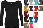 Kyпить New Womens Plain Jersey V-Neck Ladies Basic Long Sleeve Stretch T-Shirt Top 8-14 на еВаy.соm
