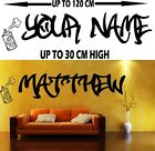 WALL STICKER decal PERSONALISED NAME boy GRAFFITI bedroom 4 SIZES MANY COLOURS