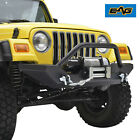 Black Textured Front Bumper W/Winch Plate&D-rings for 87-06 Jeep Wrangler TJ YJ