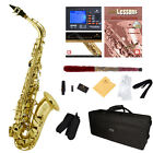 Mendini by Cecilio Alto Saxophone Sax +Chromatic Tuner, First Lesson Book/CD <br/> w/Case,10 Extra Reeds,Cleaning Swab~Instructor Approved