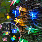 Solar Dragonfly Or Butterfly 30 Multi Coloured LED Garden Fairy String Lights