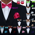 Mens Tuxedo Bowtie Hanky Cufflinks set 10 Solid Plain Colours - PICK YOUR CHOICE