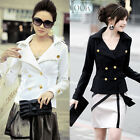 Womens Black White Waist Length Double-Breasted Button Wrap Coat Tops Outerwears