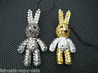 BLING JEWEL DIAMONTE SILVER GOLD BUNNY RABBIT MOBILE PHONE HANDBAG CHARM UKSELL