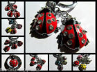 CUTE RED COLOURFL LADYBIRD LADYBUG 4 PIECE KEYRING CHARM DIAMONTE 8 DESIGNS HERE
