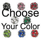 10 Gunmetal Plated 8mm Round Beads with a Cluster of Many Colored Rhinestones