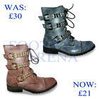 New Ladies Military Army Biker Combat Worker Ankle Boots Size UK 3 4 5 6 7 8