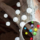 10 White or Multi Coloured LED Solar Chinese Lantern Garden Fairy String Lights