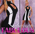 NEW SEXY SIZE 6-8-10 S M WOMEN'S PARTY EVENING CLUBBING DRESS TOP BLACK WHITE