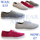 Ladies Flat Canvas Plimsolls Plims Pumps Lace Up Trainers Sizes UK 3 4 5 6 7 8