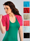 Womens Crochet Shrug Bolero Open Knit Short Sleeve Ladies Brand New