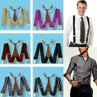 New Mens Suspenders solid Adjustable Clip-on Leather Fittings unisex Braces BD6H