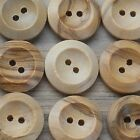 2-HOLE NATURAL WOODEN BUTTONS X 10 BUTTONS- CHOOSE YOUR SIZE FROM 14MM- 35MM