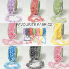 MAY ARTS GATHERED GINGHAM RUFFLE TRIM sold per m ELASTICATED FRILL RIBBON DOLLS