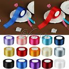 """1 Roll 25 Yards 2"""" 50mm Satin Ribbon Craft Bow Wedding Party Supply Colours"""