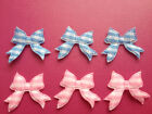 50 BABY BOY OR GIRL SMALL GINGHAM RIBBON BOW CARD MAKING CRAFT EMBELLISHMENTS