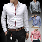 Hot Sell Cool Men Long Sleeve Collared Casual Shirts Career Slim Tops Business