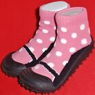 NEW Girl's Infant's Toddlers SKIDDERS Black Pink Casual Comfort Socks Shoes