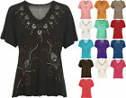 Ladies Plus Size Short Sleeve Floral Embroidered Womens Glitter Heart Beaded Top