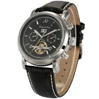 KS Luxury Men's Automatic Mechanical Black Leather Date Day Sport Wrist Watch
