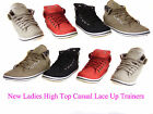 WOMENS LADIES GIRLS FLAT HI HIGH TOP TRAINERS LACEE UP PUMPS SHOE UK SIZE 3-8