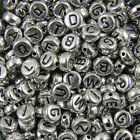 100 Acrylic SINGLE LETTER A-Z Silver Disc ALPHABET BEADS 7x4mm
