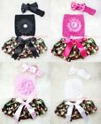 Newborn Baby Girl Fatigues Camo Bloomer Pantie Crochet Tube Top 3PC Set 3-12M