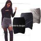 sk27 CFLB Women's High Waisted Stretch Ruched Mini Skirt Party Bodycon Black 12