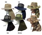 Boonie Fishing Hiking Army Military Long  Flap Snap Mesh Bucket  with Neck Cover
