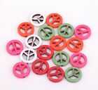 Free Shipping 50pcs Green/Red/Orange/White Color Peace Symbol Spacer Beads 17mm