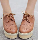 Ladies Womens Lace Up Platform Flat Punk Rock Brogue Oxford Creepers Shoes #03
