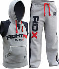 RDX Fight Me Tracksuit Trousers Vest Hoodie MMA Gym Boxing Pent Grey Shorts Mens