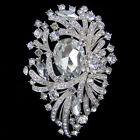 "Pretty Vintage 3.66"" Swarovski Crystal Rhinestone Flower Brooch Pin Pendant New"