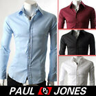 Brand New Men's Luxury Casual Slim Fit Stylish Dress Shirts Tops 4Colors 4 Sizes