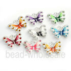 5/10pcs Zinc Alloy Enamel Butterfly Charm Pendant Fit DIY Necklace 7 Colors