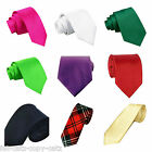 MENS UNISEX SATIN STYLE PLAIN SLIM SKINNY NECK TIE CASUAL PARTY WEDDING UKSELLER