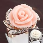 A1-R248 Rose Flower Fashion Ring 18KGP use Swarovski Crystal