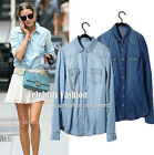 ts12N Celebrity Style Womens Vintage Boyfriend Chambray Faded Washed Denim Shirt
