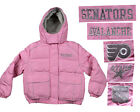 NHL Hockey Girls Childrens Winter Hooded Puffy Coat/Jacket in Pink  Many Teams!