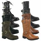 New Ladies Low Flat Heel Riding Biker Buckle Mid Calf Boots Size UK 3 4 5 6 7 8
