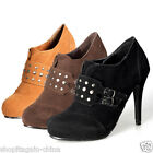 Women Ladies Shoes Boots High Heel Ankle Faux Suede Stiletto Buckle Stud New