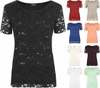 New Plus Size Womens Lace Sequin Lined Ladies Sleeve Party Crochet Top 12 - 26