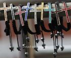 9Color New Rhinestone Crystal Cross Hematite Ball Beads Rope Bangle Bracelet