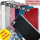 Carbon Fibre Hard Plastic Case Cover For Iphone 5 & Screen Guard