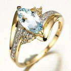 Size6,7,8,9,10 Jewelry Woman's Blue Aquamarine 10KT Yellow Gold Filled Ring Gift