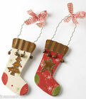NEW CHRISTMAS CUTE STOCKING BOOT WOODEN HANGING TREE DECORATION WITH GINGHAM BOW